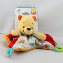 Doudou plat carré winnie l'ourson rouge orange gris oiseau DISNEY BABY