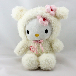 Doudou chat HELLO KITTY déguisé en ours blanc SANRIO LICENSE