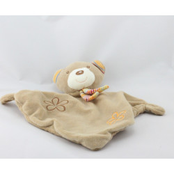 Doudou plat ours beige marron rayé rose orange fleurs BABY CLUB