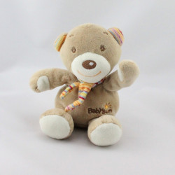 Doudou ours beige écharpe rayé BABYSUN