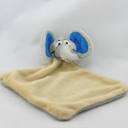 Doudou plat éléphant beige gris bleu UNICEF