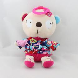 Doudou sac ours rose chemise à fleurs TUC TUC