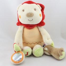 Doudou lion beige orange rouge vert miroir singe SUCRE D'ORGE