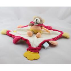 Doudou eveil plat ours rose jaune Super Doudou BABY NAT