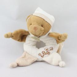 Doudou et compagnie bio hochet ours blanc marron fleurs