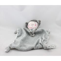 Doudou plat poupée fille gris blanc pois TAPE A L'OEIL