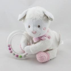 Doudou mouton blanc gris rose hochet NICOTOY