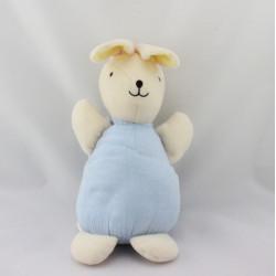 Doudou musical lapin blanc écru bleu DMC