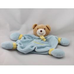 Doudou plat ours bleu jaune NOUNOURS