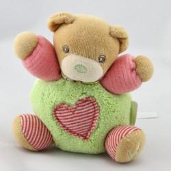 Mini Doudou ours vert rose coeur KALOO