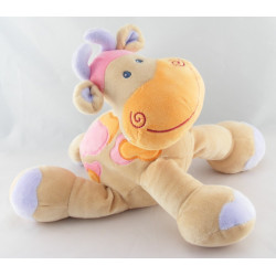 Doudou girafe vache beige taches orange rose NATTOU NEUF