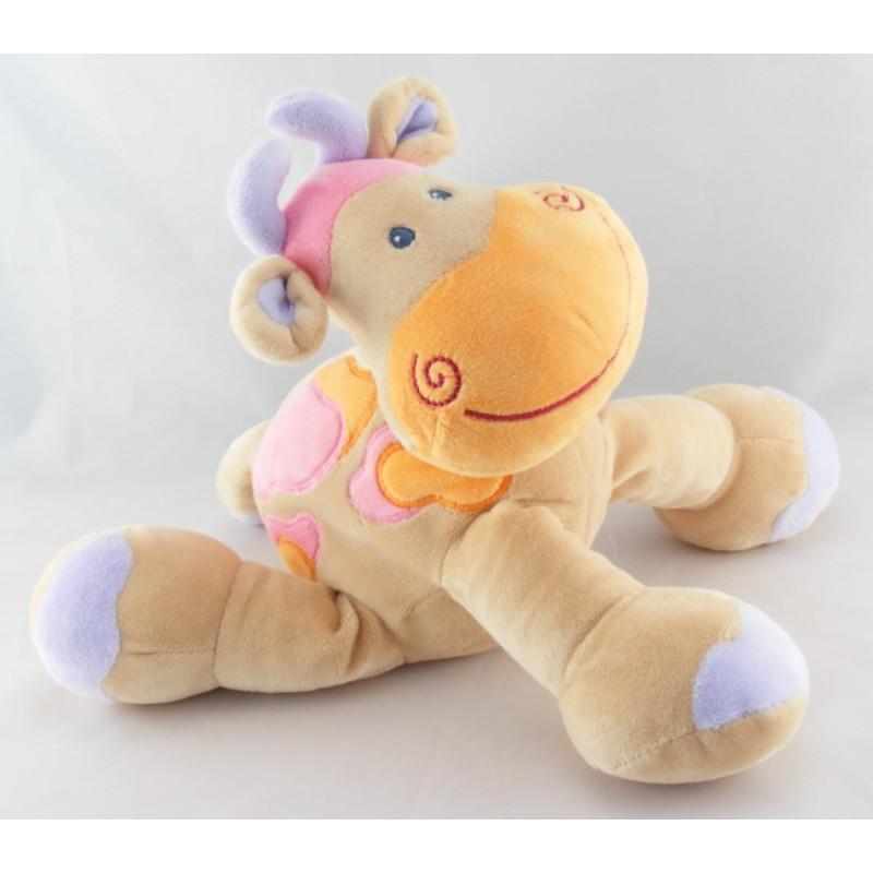 Doudou girafe vache beige taches orange rose NATTOU NEUF