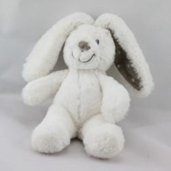 Doudou lapin blanc oreilles beige POMMETTE