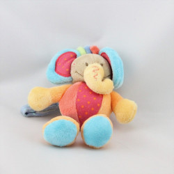 Doudou attache tétine éléphant rose bleu vert orange NATTOU