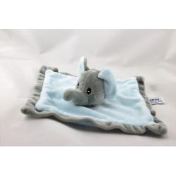 Doudou plat éléphant bleu gris SANDY