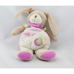 Doudou lapin rose vert blanc BABY NAT