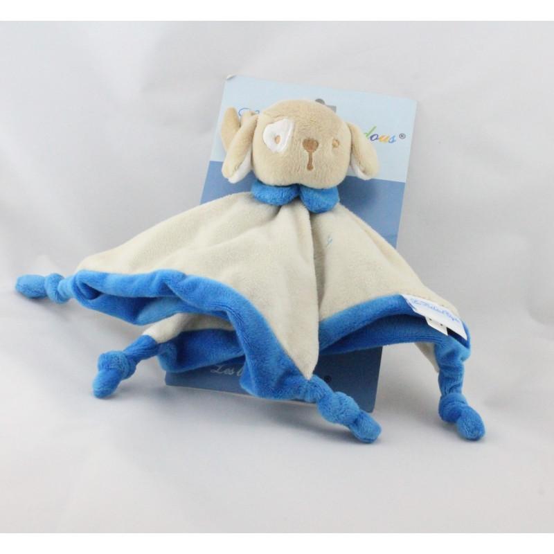 Doudou plat chien beige bleu LES BEBES D'ELYSEA