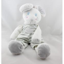 Doudou souris blanche rayure grise BELLODOUX 40 cm