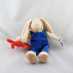 Doudou lapin salopette bleu chemise jaune avec petit lapin rouge AJENA
