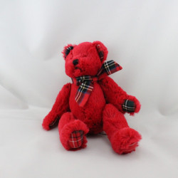 Doudou ours rouge noeuds carreaux JACADI