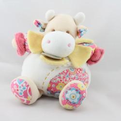 Doudou et compagnie vache blanche jaune rose fleurs Pistache