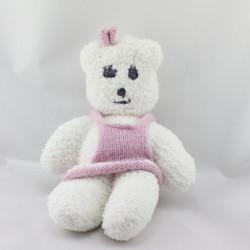 Doudou ours blanc robe en laine rose