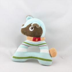 Doudou hochet chien bleu marron rayure SUCRE D'ORGE