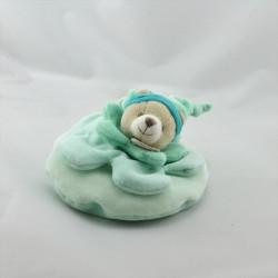 Doudou et compagnie ours bleu vert col fleur carambole Petit Modéle