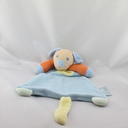 Doudou plat chien bleu orange jaune KING BEAR