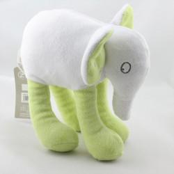 Doudou éléphant blanc vert GRAIN DE BLE