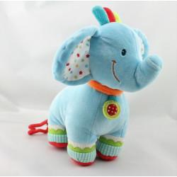Doudou éléphant bleu vert rouge orange étoiles NICOTOY