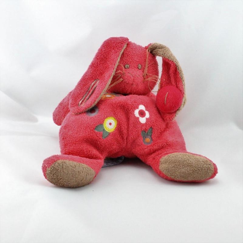 Doudou lapin rouge fleurs HAPPY HORSE