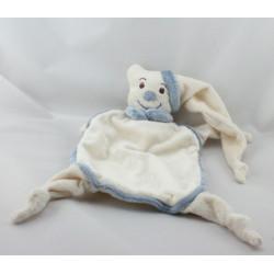 Doudou plat ours blanc bleu BUKOWSKI