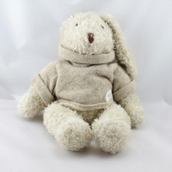 Doudou lapin ecru pull gris Basile et Lola MOULIN ROTY