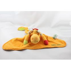 Doudou reversible plat girafe orange oiseau vert LILLIPUTIENS