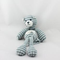 Doudou chat bleu gris rayé
