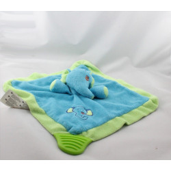 Doudou plat éléphant bleu vert BRUIN