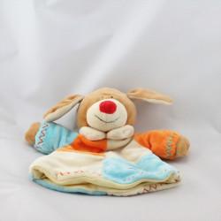 Doudou marionnette chien écru beige orange bleu LASCAR