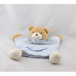 Doudou plat ours bleu vichy rayé coeur TAKINOU