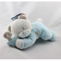 Doudou musical ours blanc bleu tortue TEX