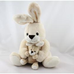 Doudou lapin écru beige avec bébé NOUNOURS  32 cm