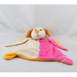 Doudou plat chien blanc rose orange TOI TOYS