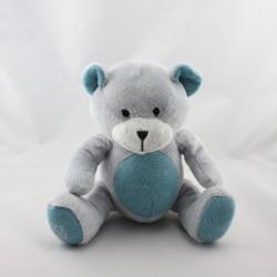 Doudou ours gris bleu laine OBAIBI