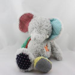 Doudou éléphant gris bleu rouge vert jaune pois vichy NICOTOY