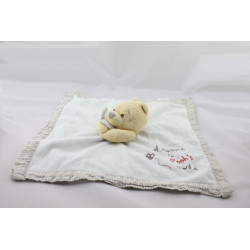 Doudou Plat Winnie l'Ourson Blanc vichy beige Welcome to Pooh's World DISNEY STORE