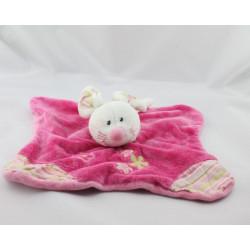 Doudou plat souris rose rayé fleurs JOLLYMEX