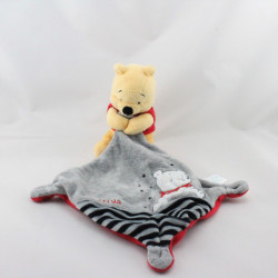 Doudou Winnie l'ourson mouchoir gris rouge rayé noir DISNEY NICOTOY