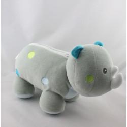 Doudou range pyjama rhinocéros gris bleu vert SUCRE D'ORGE