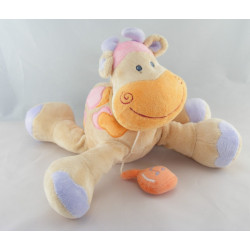 Doudou girafe vache beige taches orange rose NATTOU