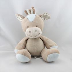 Doudou musical poney cheval beige bleu NATTOU
